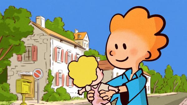 Oskar hat eine Hausaufgabe: Er soll sich um die Schulpuppe Rosie kümmern.   Rechte: SWR/NORMAAL