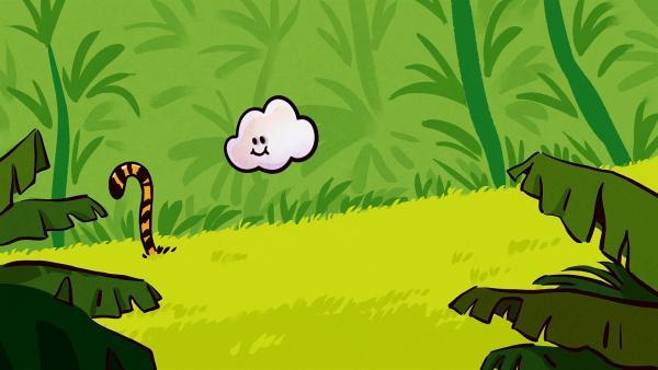 Huu kann als Wolke überall hinfliegen. Sogar zu den Tigern im Dschungel.   Rechte: SWR/NORMAAL