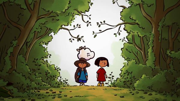 Auf ihrer Entdeckungstour gehen Ella, Oskar und Huu an einen Ort, an dem sie noch nie waren: den tiefen Wald. | Rechte: SWR/NORMAAL