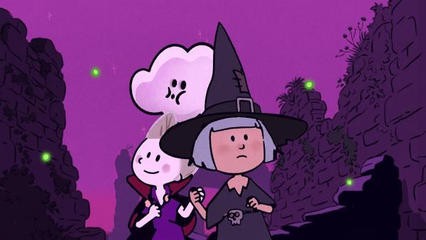 Die Glühwürmchen zeigen Oskar und Ella den Weg zu ihren Halloween-Süßigkeiten.   Rechte: SWR/NORMAAL