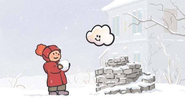 Oskar und Huu spielen zusammen im Schnee. | Rechte: SWR/NORMAAL