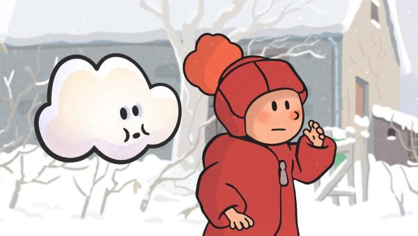 Huu und Oskar freuen sich über den Schnee in ihrem Garten. | Rechte: SWR/NORMAAL