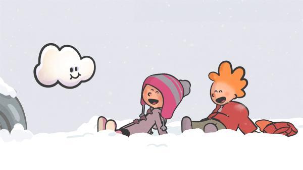 Nach einem großen Streit bringt Huu seine Freunde Ella und Oskar wieder zum Lachen. | Rechte: SWR/NORMAAL