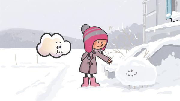 Ella zeigt Huu ihren frisch gebauten Schneefreund. | Rechte: SWR/NORMAAL