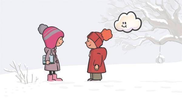 Ella und Oskar suchen Tierspuren im Schnee. | Rechte: SWR/NORMAAL