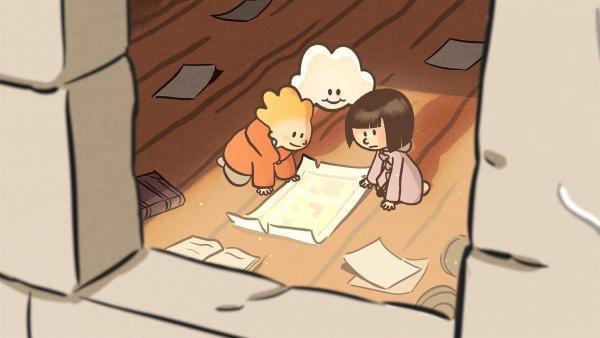 Oskar, Huu und Ella haben auf dem Dachboden eine Schatzkarte entdeckt. | Rechte: SWR/NORMAAL