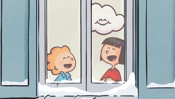 Oskar und Ella haben eine lustige Idee. Sie wollen bei Huu in den Wolken spielen. | Rechte: SWR/NORMAAL