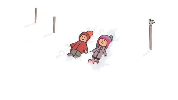 Oskar und Ella spielen im Schnee, dass sie in den Wolken wären. | Rechte: SWR/NORMAAL