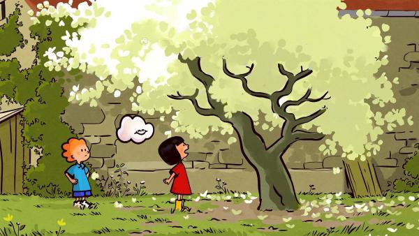 Oskar, Ella und Huu bewundern die Blüten am Baum in ihrem Garten. | Rechte: SWR/NORMAAL