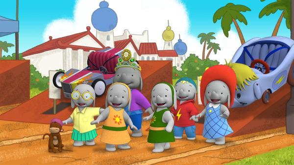 Gespannt warten die Freunde auf den Start des Rennens.  | Rechte: KiKA/TVOKids/FremantleMedia Kids & Family Entertainment/DHX Cookie Jar Inc.