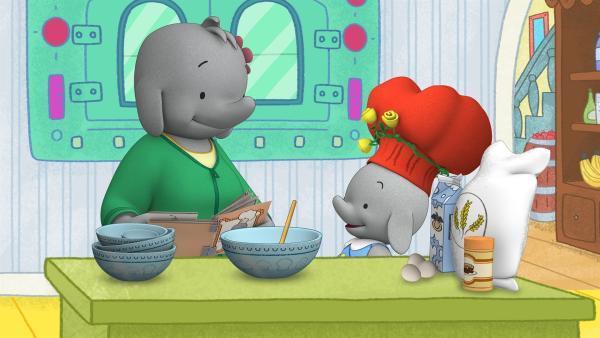 Frau Melba und Ella wollen Bananen-Muffins backen. | Rechte: KiKA/TVOKids/FremantleMedia Kids & Family Entertainment/DHX Cookie Jar Inc.