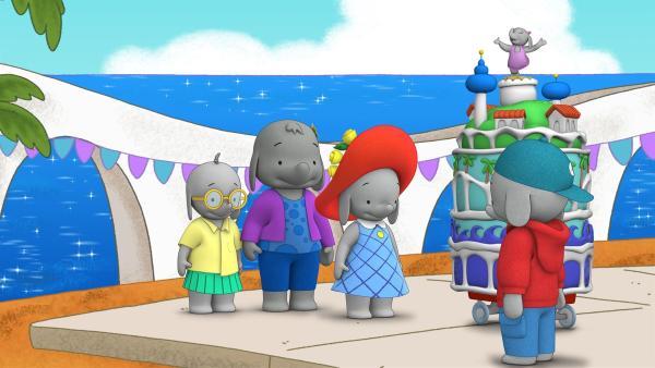 Tiki, Belinda, Ella und Frankie bringen die Riesentorte zum Marktplatz. | Rechte: KiKA/TVOKids/FremantleMedia Kids & Family Entertainment/DHX Cookie Jar Inc.