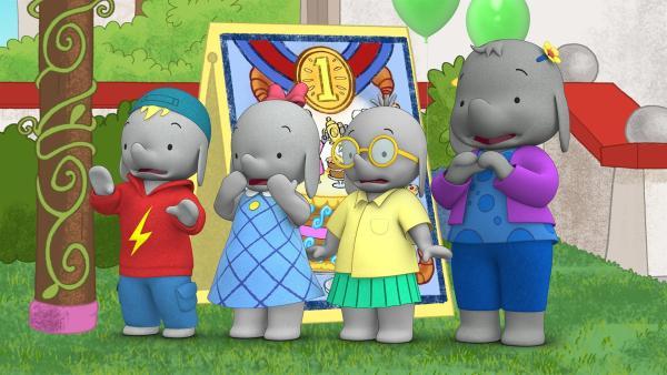 Frankie, Ella, Tiki und Belinda erschrecken. Ihre Riesentorte droht umzufallen.   | Rechte: KiKA/TVOKids/FremantleMedia Kids & Family Entertainment/DHX Cookie Jar Inc.