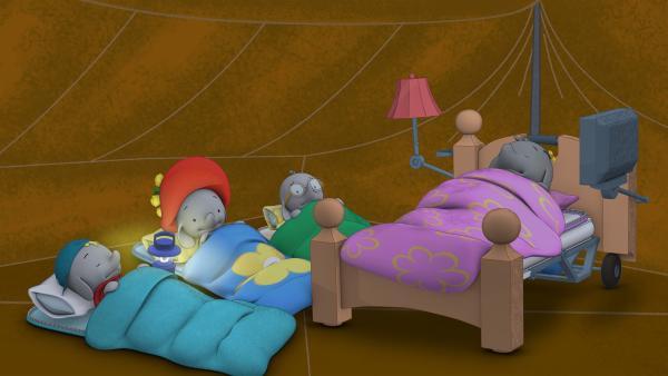 Frankie und Belinda schlafen schon. Ella und Tiki sind noch wach. | Rechte: KiKA/TVOKids/FremantleMedia Kids & Family Entertainment/DHX Cookie Jar Inc.