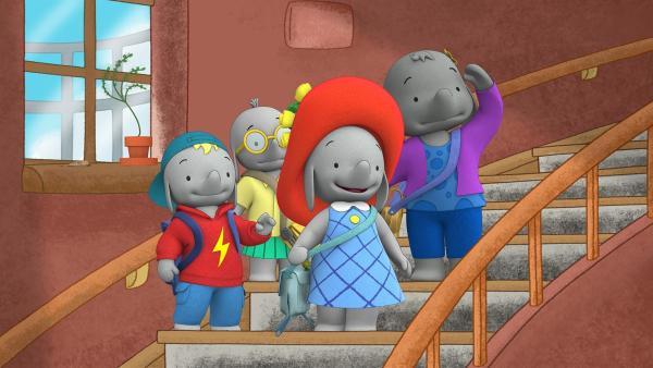 Frankie, Tiki, Ella und Belinda haben eine Möwe im Leuchtturm entdeckt. | Rechte: KiKA/TVOKids/FremantleMedia Kids & Family Entertainment/DHX Cookie Jar Inc.