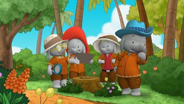 Die Freunde folgen den Hinweisen. | Rechte: KiKA/TVOKids/FremantleMedia Kids & Family Entertainment/DHX Cookie Jar Inc.