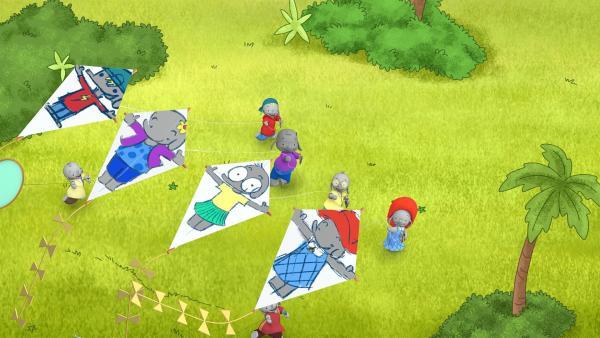 Die Freunde haben sich selbst auf ihre Drachen gemalt.  | Rechte: KiKA/TVOKids/FremantleMedia Kids & Family Entertainment/DHX Cookie Jar Inc.
