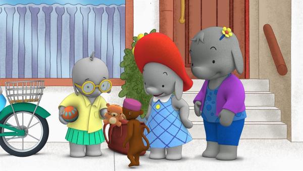Tiki verabschiedet sich von Lola. Ella wird heute auf sie aufpassen.  | Rechte: KiKA/TVOKids/FremantleMedia Kids & Family Entertainment/DHX Cookie Jar Inc.