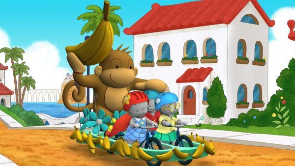 Ella, Tiki und Frankie fahren zum Festumzug. | Rechte: KiKA/TVOKids/FremantleMedia Kids & Family Entertainment/DHX Cookie Jar Inc.