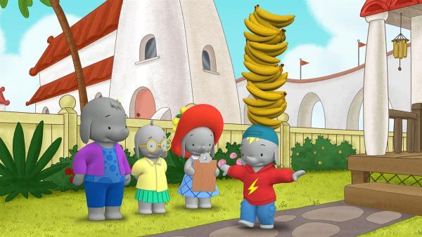 Frankie versucht einen Rekord im Bananenbalancieren aufzustellen.  | Rechte: KiKA/TVOKids/FremantleMedia Kids & Family Entertainment/DHX Cookie Jar Inc.