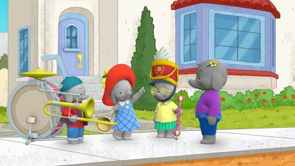 Die Freunde überraschen Tiki mit einer Parade.  | Rechte: KiKA/TVOKids/FremantleMedia Kids & Family Entertainment/DHX Cookie Jar Inc.