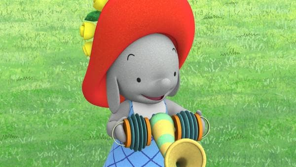 Ella möchte auf dem Rüsselakkordeon spielen.  | Rechte: KiKA/TVOKids/FremantleMedia Kids & Family Entertainment/DHX Cookie Jar Inc.