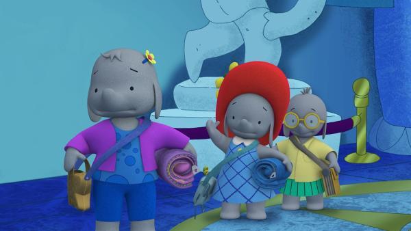 Die Freunde suchen nach einem guten Schlafplatz im Museum.  | Rechte: KiKA/TVOKids/FremantleMedia Kids & Family Entertainment/DHX Cookie Jar Inc.