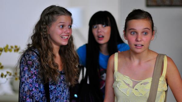 Erschrocken merken die Mädchen, dass Allys kleiner Bruder dabei ist, ihr Chatroom Geheimnis aufzudecken. v.li.: Emma (Sophie Karbjinski), Jackie (Charlotte Nicdao), Ally (Marny Kennedy) | Rechte: NDR/Southern Star