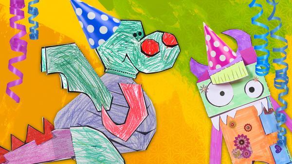 Die Steckfiguren feiern mit bunten Partyhüten und Luftschlangen den Geburtstag von ENE MENE BU. | Rechte: KiKA