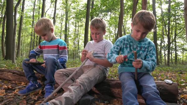 Levin, Luis und Elias schnitzen. | Rechte: KiKA