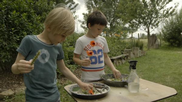 Janko und Kolja verzieren ihre Blumenkuchen. | Rechte: KiKA