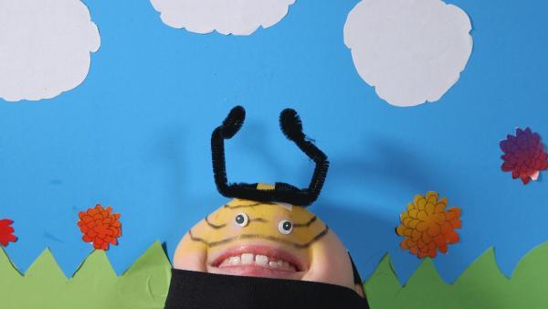 Ein Kinngesicht singt ein Bienenlied. | Rechte: KiKA/Motion Works GmbH