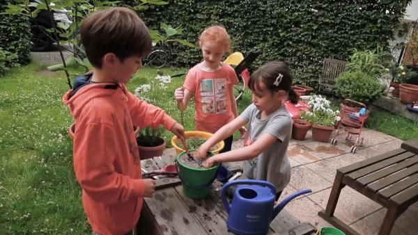 Frida, Alex und Svenja kochen eine Suppe. | Rechte: KiKA/Motion Works GmbH