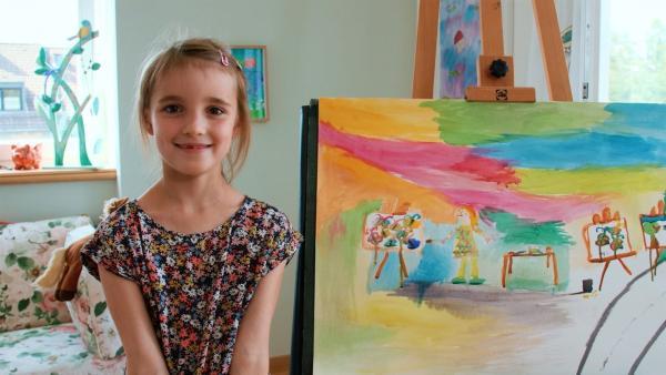 Carlotta hat sich als Malerin gemalt. | Rechte: KiKA/Motion Works GmbH