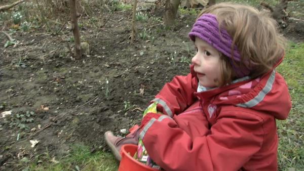 Matilda nimmt eine Blumenzwiebel aus ihrem Eimer. | Rechte: KiKA/Motion Works GmbH