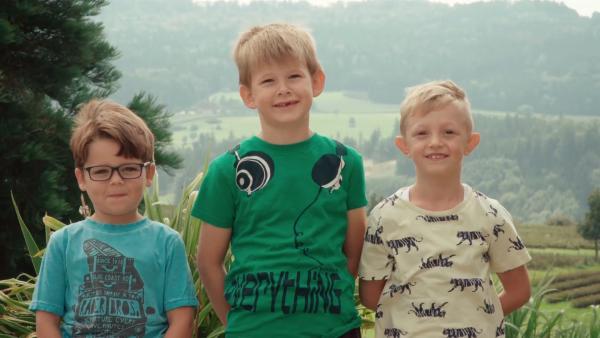 Loris, Alexander und Nico freuen sich auf das Hausbauen. | Rechte: KiKA/Motion Works GmbH