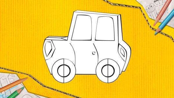 Ein Auto zum Basteln, das aus Papier zusammengesteckt und geklebt wird.   Rechte: KiKA