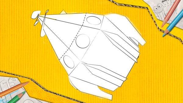 Ein Raumschiff zum Basteln, dass aus Papier zusammengesteckt und geklebt wird. | Rechte: KiKA