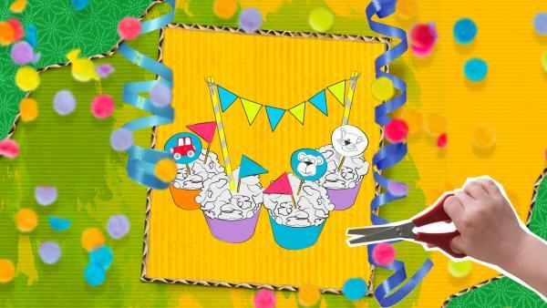 Bastelvorlage für Muffinförmchen, Muffinpieker und eine Kuchengirlande aus Papier zum Anmalen und selber gestalten. | Rechte: KiKA
