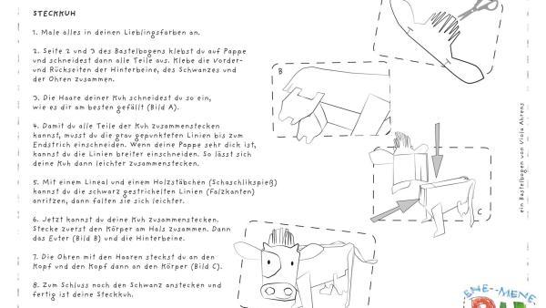Der Bastelbogen für die Steckkuh von ENE MENE BU. | Rechte: KiKA