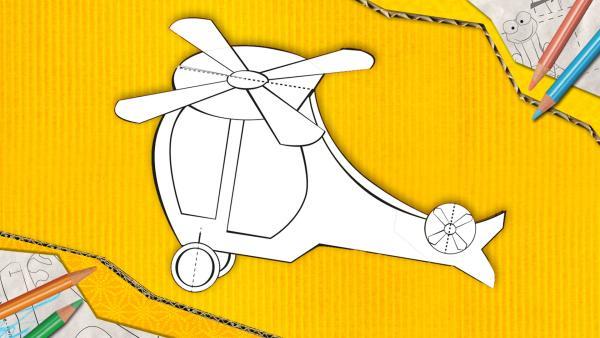 Ein Hubschrauber zum Basteln, der aus Papier zusammengesteckt und geklebt wird.   Rechte: KiKA