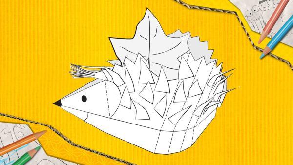 Ein Igel zum Basteln, der aus Papier zusammengesteckt und geklebt wird.   Rechte: KiKA