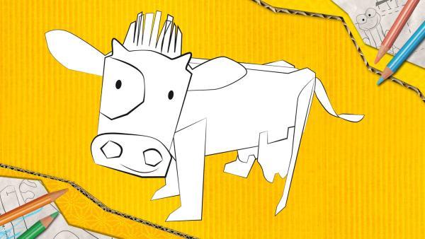 Eine Kuh zum Basteln, die aus Papier zusammengesteckt und geklebt wird.   Rechte: KiKA