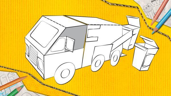 Ein Müllauto von ENE MENE BU mit zwei Mülltonnen herunterladen und gestalten. | Rechte: KiKA