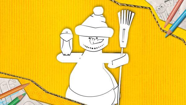 Ein Schneemann zum Basteln, der aus Papier zusammengesteckt und geklebt wird. | Rechte: KiKA