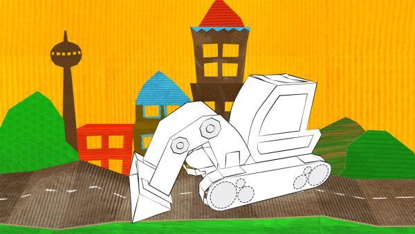 Der gebastelte Bagger aus Papier von ENE MENE BU fährt durch eine Stadtlandschaft.   Rechte: KiKA
