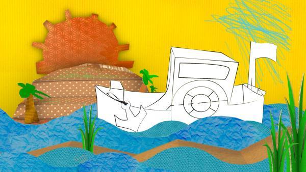 Ein gebasteltes Steckboot aus Pappe von ENE MENE BU fährt übers Meer.  | Rechte: KiKA