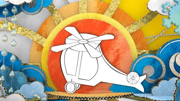 Der gebastelte Hubschrauber aus Papier von ENE MENE BU fliegt in den Sonnenuntergang.   Rechte: KiKA