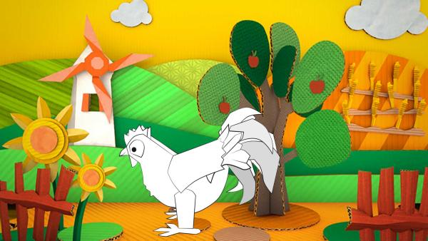 Das gebastelte Huhn aus Papier von ENE MENE BU spaziert durch Felder und Wiesen.   Rechte: KiKA