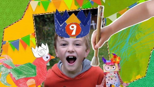Bastelvorlage für eine Geburtstagskrone mit Zahlen zum Zusammenstecken aus Papier. | Rechte: KiKA
